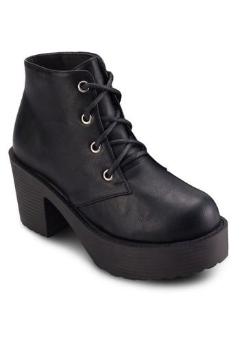 厚底粗跟繫帶短靴,esprit part time 女鞋, 靴子