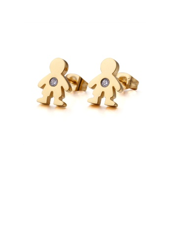 Glamorousky white Simple and Plated Cute Gold Little Boy 316L Stainless Steel Stud Earrings with Cubic Zirconia 20565AC081540FGS_1