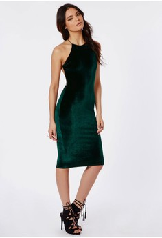 Strappy Velvet Midi Dress Green
