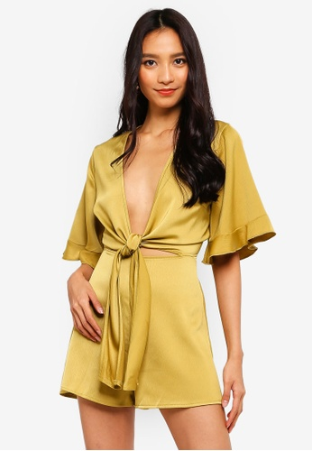91c445ec33 MISSGUIDED yellow Tie Front Kimono Sleeve Playsuit 533D2AA8931B4AGS 1