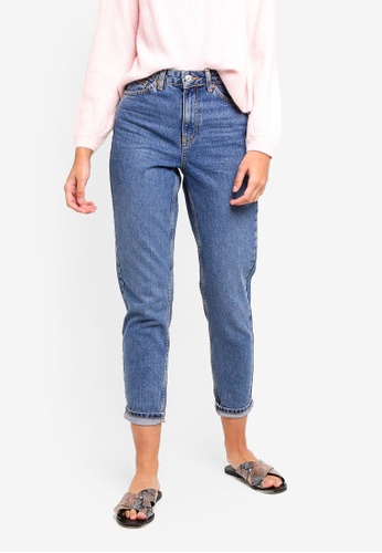 fdee14b5816b Buy TOPSHOP Mid Blue Mom Jeans Online on ZALORA Singapore