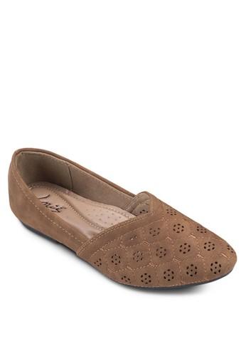 沖孔雕花拼zalora時尚購物網的koumi koumi接平底鞋, 女鞋, 芭蕾平底鞋