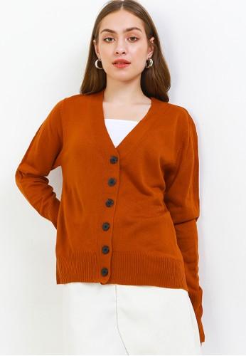 Peponi orange Cuff Rib Button Cardigan 172EDAA296FF0AGS_1