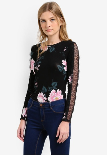 Dorothy Perkins black Printed Lace Insert Top DO816AA0S4RQMY_1