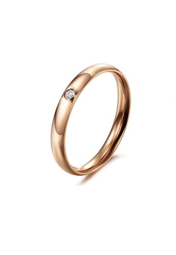 ADORA Stainless Steel Simple Rose Gold Ring AD365AC2VU4MHK_1