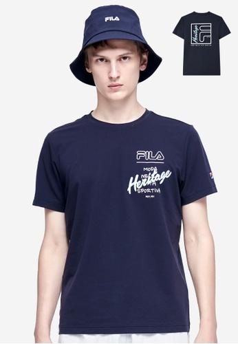 FILA navy Athletics Contrast FILA HERITAGE Logo T-shirt E5015AA09A7F19GS_1