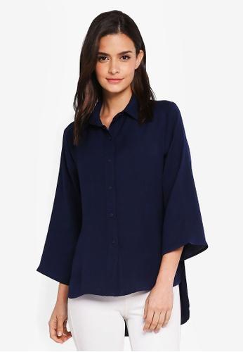 Zalia navy Button Down Shirt E797CAAA0DE84AGS_1