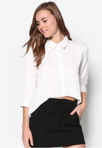 不對稱下擺七分袖襯衫esprit 童裝, 服飾, 上衣
