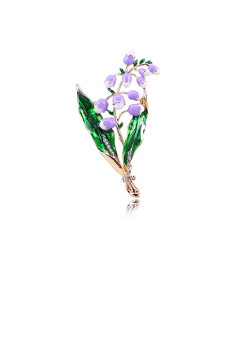 Glamorousky white Fashion Temperament Plated Gold Purple Flower Brooch with Cubic Zirconia 7D3DBACE39E99AGS_1