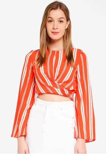 Miss Selfridge orange Striped Twist Top F4062AADF65CBDGS_1