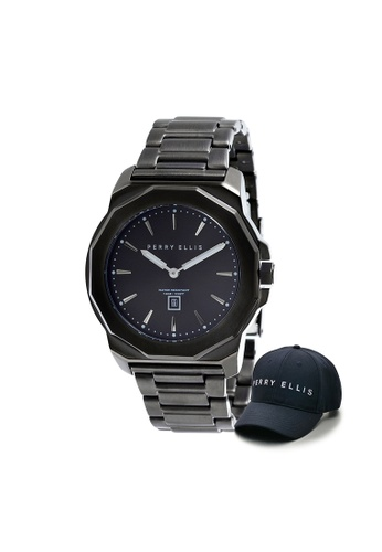 Perry Ellis black Perry Ellis Decagon Unisex 42mm Quartz Stainless Steel Watch 08007-02 with Perry Ellis Cap 620B3ACAB7AA40GS_1