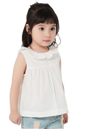 M.Latin white Plain Sleeveless Blouse with Collar Frills 86A07KA9D3CEA3GS_1