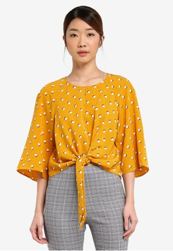 Miss Selfridge multi Marigold Split Tie Tee MI665AA0T094MY_1