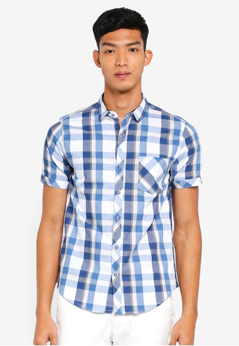 Fidelio blue Micro Collar Checkered Short Sleeves Shirt 53D8BAABF1C435GS_1
