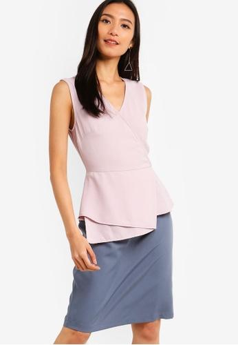 ZALORA 灰色 and 粉紅色 荷葉飾合身洋裝 F9CE5AA670639BGS_1