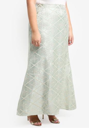 BYN green Songket Skirt 617C2AADFD25F7GS_1