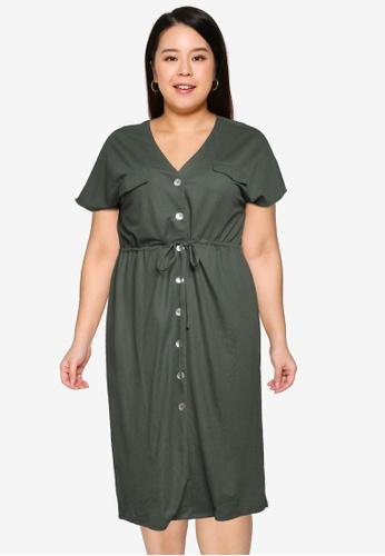 Vero Moda green Plus Size Inamaria V-Neck Midi Dress 5F218AA57847B1GS_1