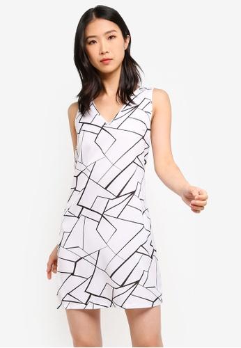 ZALORA BASICS white Basic V-Neck Shift Dress DD397AAE4ACB77GS_1