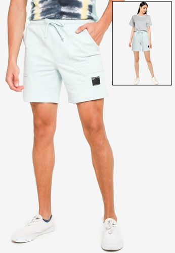 UniqTee blue Comfort Fit Unisex Sweat Shorts With Side Label 21447AAD9EB5FEGS_1