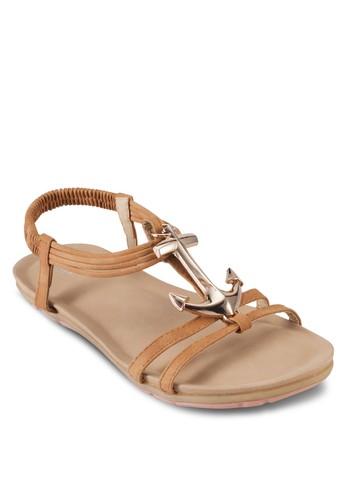 金錨彈性zalora時尚購物網評價繞踝涼鞋, 女鞋, 鞋