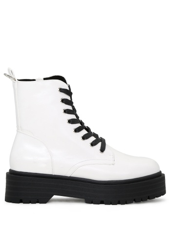 RAG&CO white Lace Up Chunky Sole Ankle Boots with Side Zipper RCSH1744 BB3A7SH37E5394GS_1