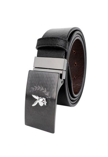 Playboy black and brown Faux Leather 35mm Reversible Belt CE297ACE6D55DEGS_1