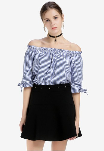 Hopeshow blue and multi and navy Striped Off Shoulder Top C51F1AA963577FGS_1