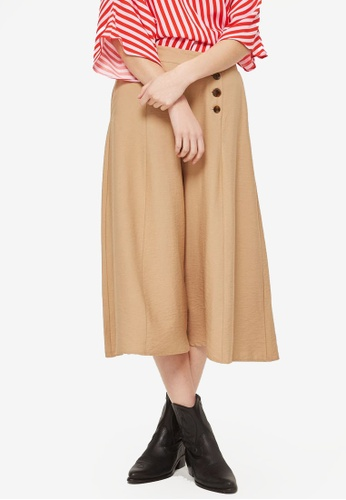 TOPSHOP brown Petite Button Front Palazzo Trousers 543A9AAC434D40GS_1