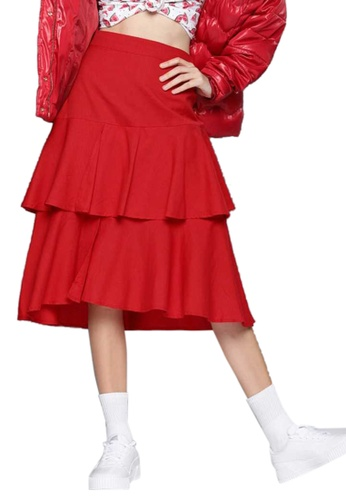 SASSAFRAS red Red Layered Midi Skirt FD338AA16F43F4GS_1