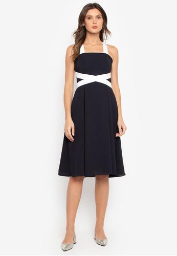 BARBA black Crepe Retro Dress with Criss Cross Strap 436FFAA75D3729GS_1