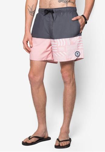16&quoesprit outlet 香港t; 雙色印花沙灘短褲, 服飾, 沙灘褲及泳裝短褲
