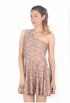One Shoulder Cheetah Dress