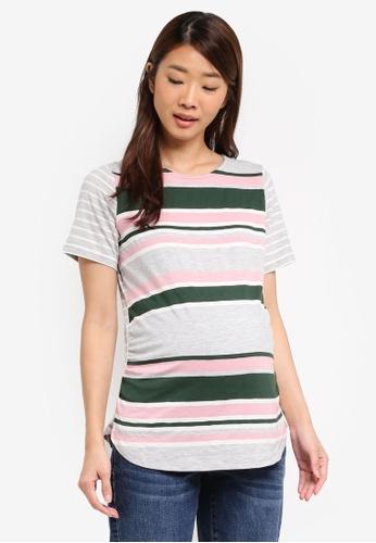 Dorothy Perkins green Maternity Stripe Curve Hem Tee 9D11EAAC3A56D7GS_1