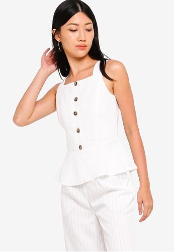 ZALORA 白色 方領上衣 EC9B0AABDEA52CGS_1