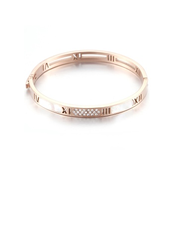 Glamorousky white Simple Temperament Plated Rose Gold Roman Numerals Geometric 316L Stainless Steel Bangle 364A6AC8EAE33EGS_1