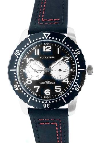 EGLANTINE silver EGLANTINE® Terrenz Unisex Steel Quartz Watch Black Dial on Black/Red leather Strap 808C0ACF3B83DAGS_1