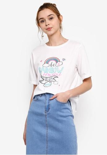 Something Borrowed 白色 印花Boyfriend T恤 4946FAAF6C35B9GS_1