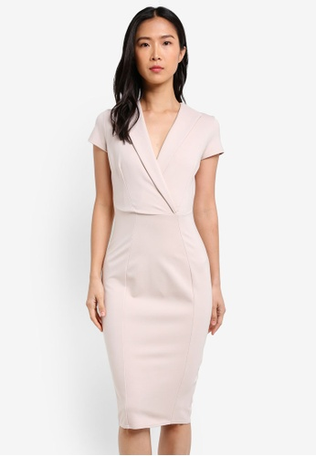 CLOSET beige Bodycon Collar Dress CL919AA0S6HJMY_1