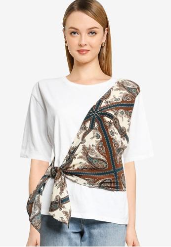 LOWRYS FARM white Printed Draped Detail T-shirt 7DDF3AA56D2159GS_1