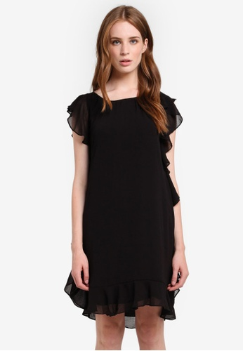 Max Studio black Woven Ruffle Dress MA703AA0RCKAMY_1
