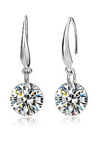 Vivere Rosse Silver Clic Solitaire Platinum Plated Drop Earrings 2ct 18k White Gold