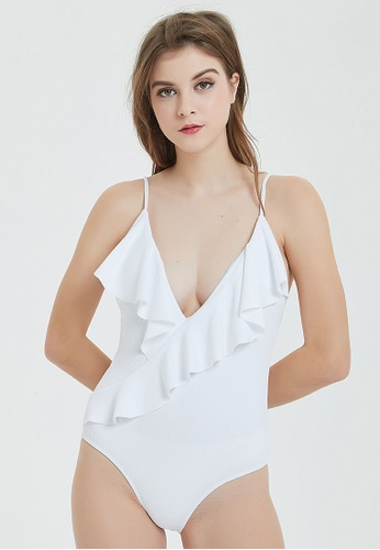 b24dcb8869c23 Shapes and Curves white Frilly Deep Plunge Neckline One Piece Swimwear  C77A1USDF91BE3GS_1