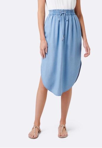 Forever New blue Carolina Ruche Waist Skirt CE54BAADFA60C7GS_1