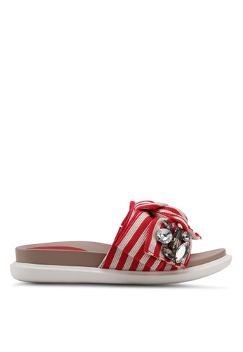 Nose 紅色 Stripes Bowtie Flat Slides 77647SH31B85A2GS_1