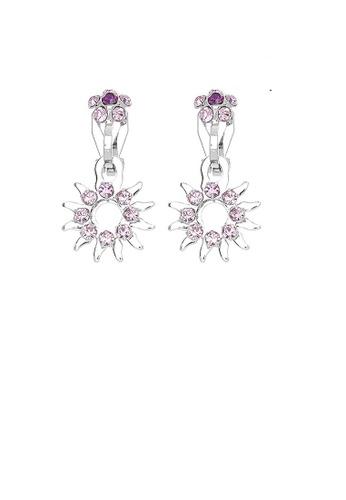 Glamorousky purple Elegant Sun Shape Non Piercing Earrings with Purple Austrian Element Crystals A0F38ACC11538AGS_1
