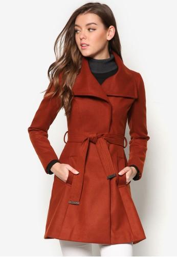 翻領裹飾繫帶大衣, 服飾,esprit 衣服 外套