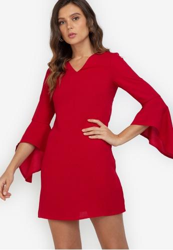 ZALORA WORK red Fluted Sleeves V Neck Dress D3DE7AAA5F2E0EGS_1