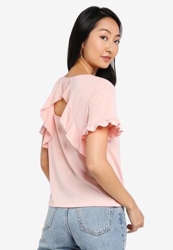 ZALORA BASICS pink Ruffle Detail T-Shirt FA3BFAAD5B2C0BGS_1