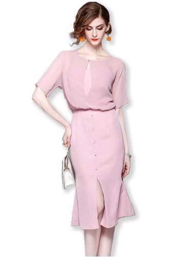 Sunnydaysweety pink 2017 F/W Pink See Through Short Sleeves Midi Dress UA092011 SU219AA0FXITSG_1