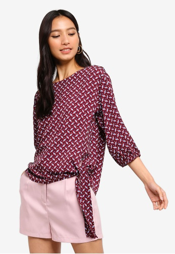 f9e1b4d209bea Buy ZALORA Tie Front 3 4 Sleeves Top Online on ZALORA Singapore